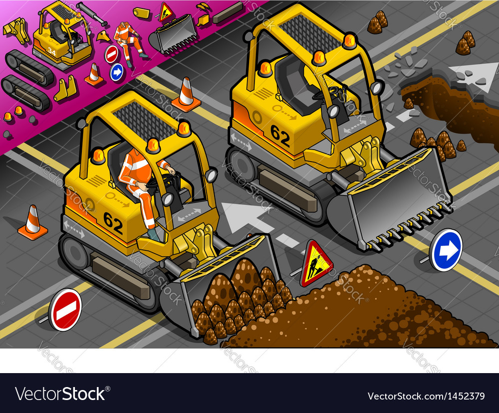 Isometric mini excavator in front view vector | Price: 1 Credit (USD $1)