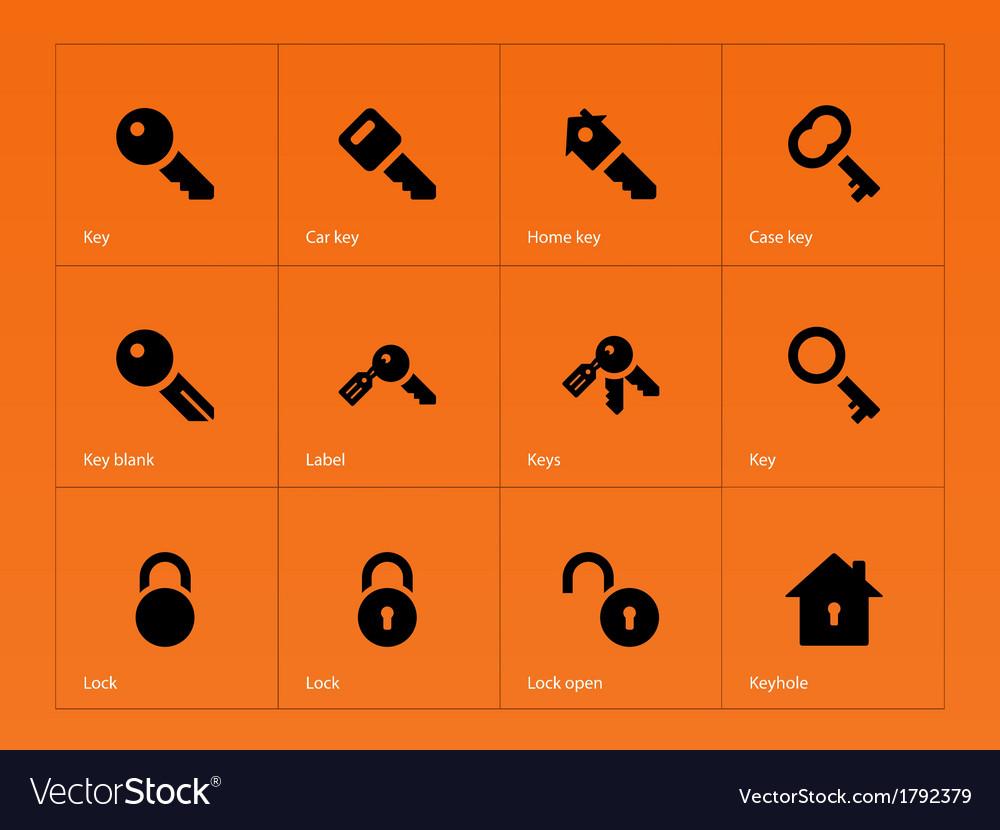 Key icons on orange background vector | Price: 1 Credit (USD $1)
