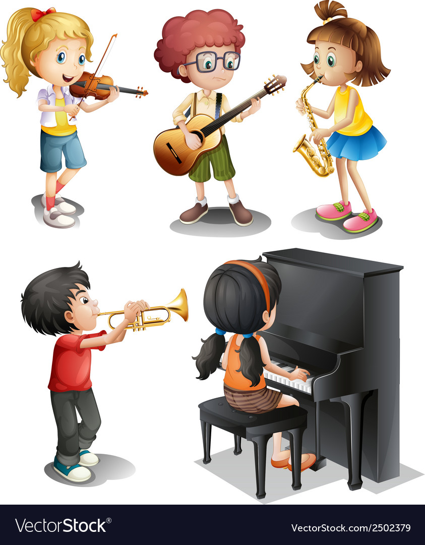 Kids with musical talents vector | Price: 1 Credit (USD $1)