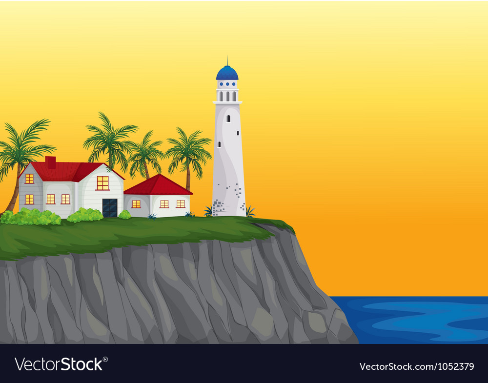Light house and appartment near water vector | Price: 1 Credit (USD $1)