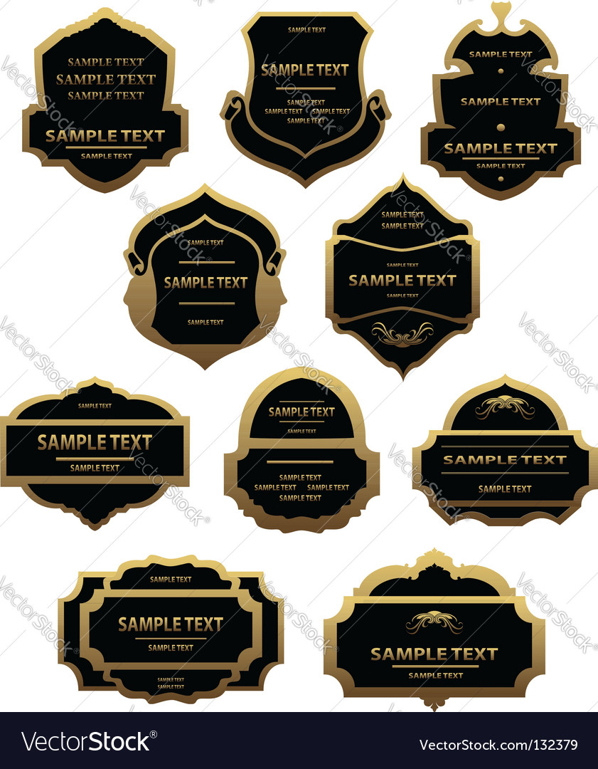 Set of golden labels and frames vector | Price: 1 Credit (USD $1)