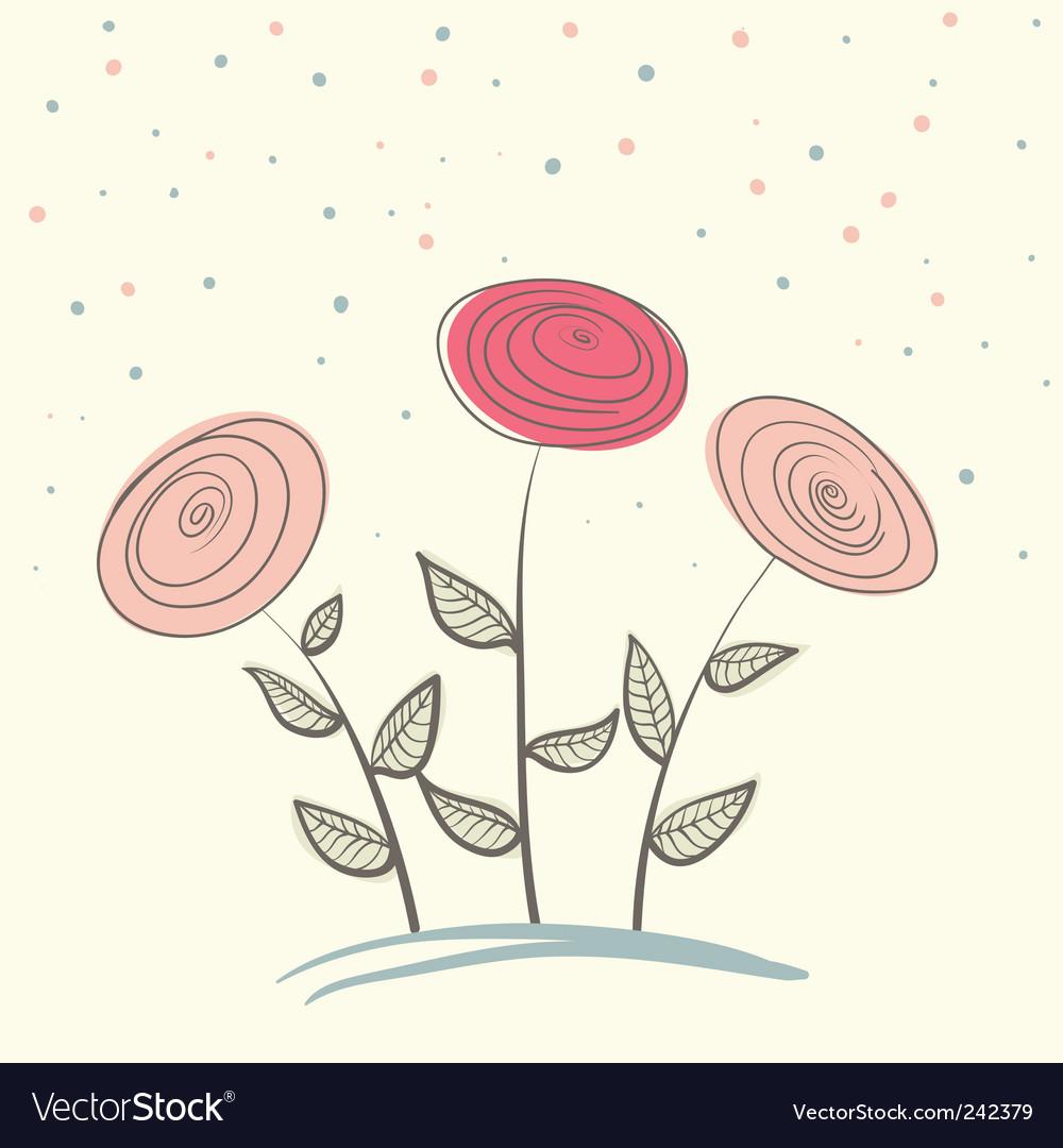 Three flowers vector | Price: 1 Credit (USD $1)