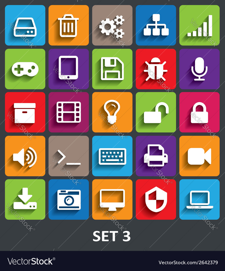 Trendy icons with shadow set 3 vector | Price: 1 Credit (USD $1)