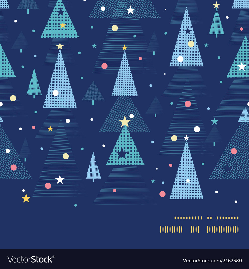 Abstract holiday christmas trees horizontal frame vector | Price: 1 Credit (USD $1)