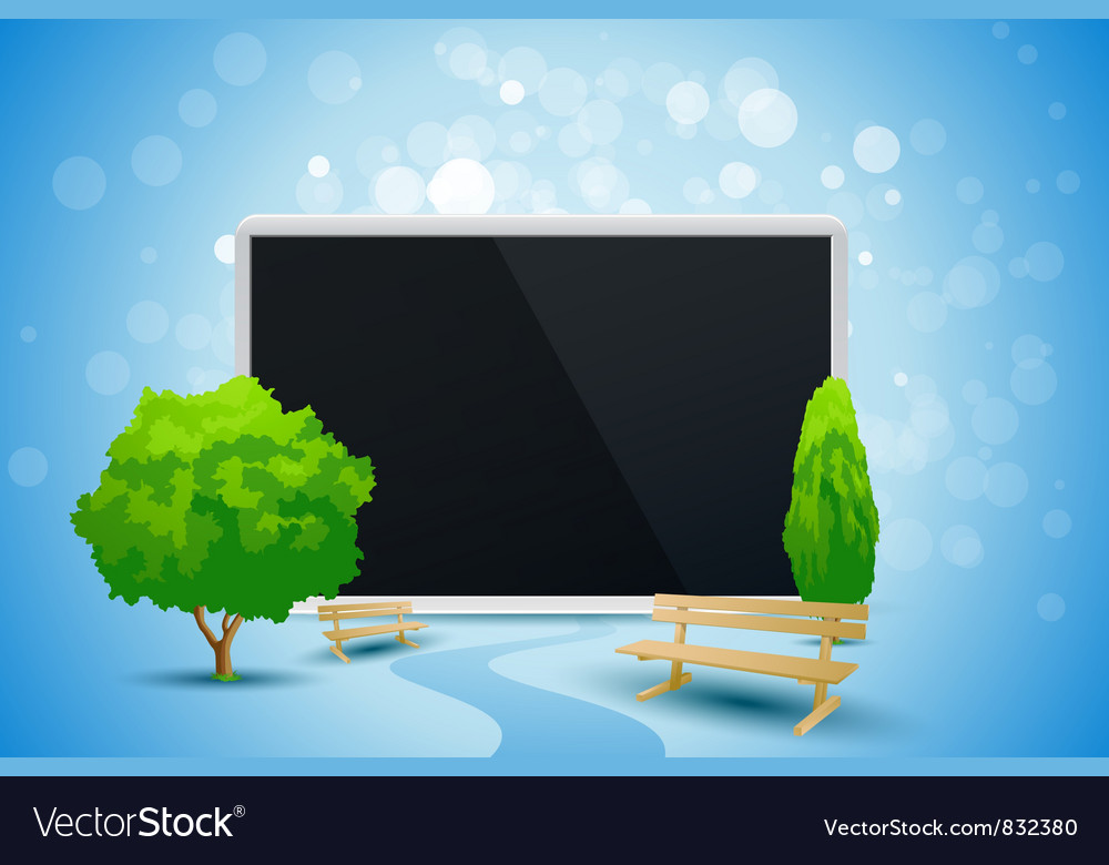 Blue background with trees and tablet computer vector | Price: 3 Credit (USD $3)
