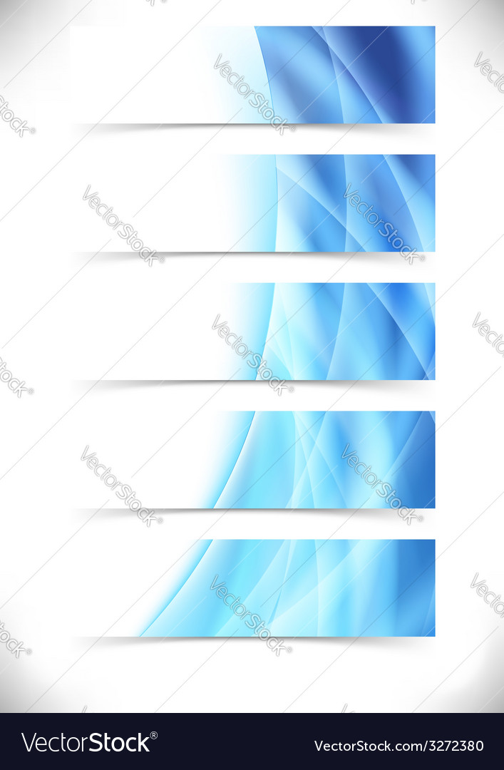 Blue bright flare wave web header footer set vector | Price: 1 Credit (USD $1)