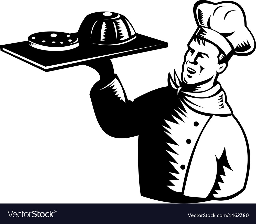 Chef cook baker holding serving pastry bakery vector | Price: 1 Credit (USD $1)