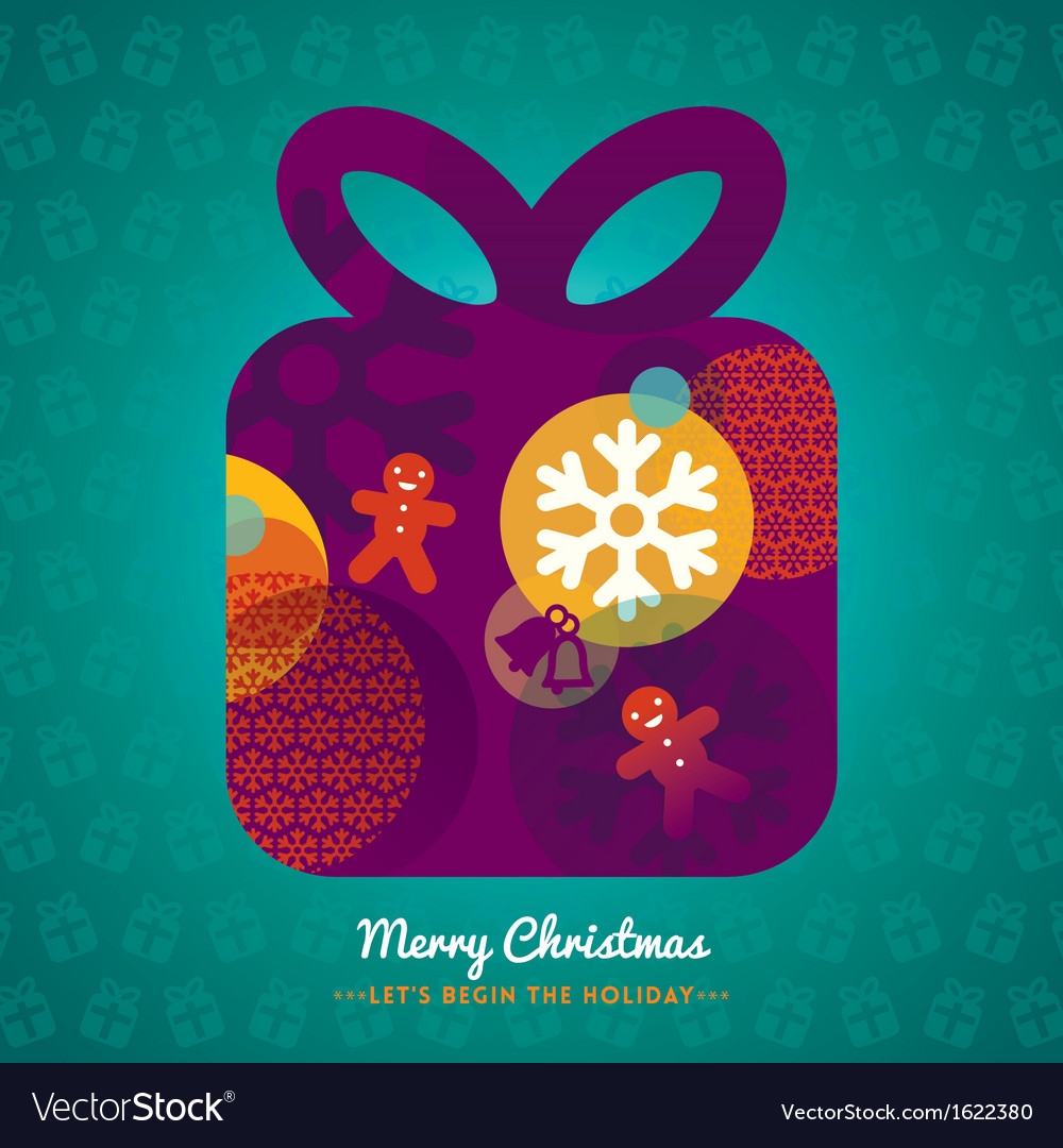 Christmas gift box with lettering on background vector | Price: 1 Credit (USD $1)