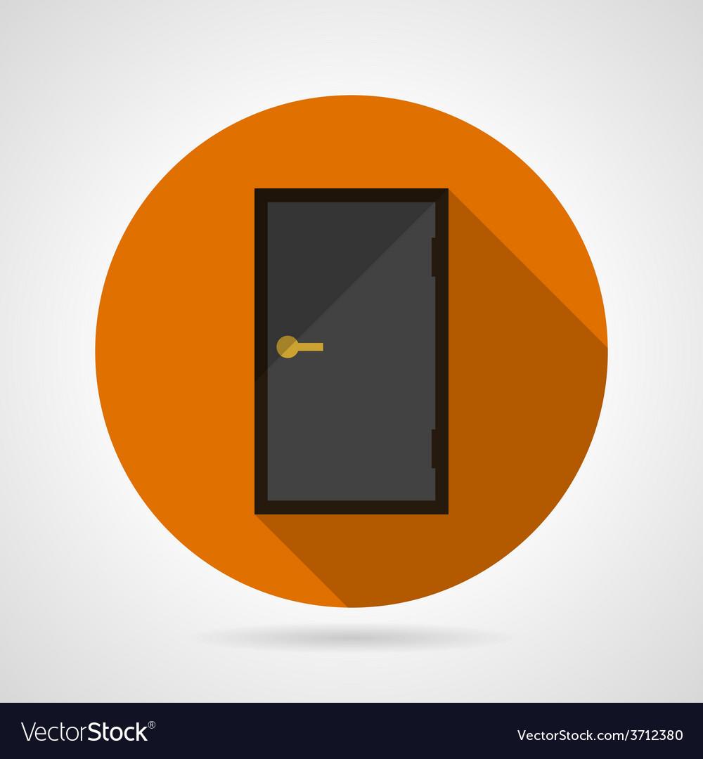 Dark gray door conceptual flat icon vector | Price: 1 Credit (USD $1)