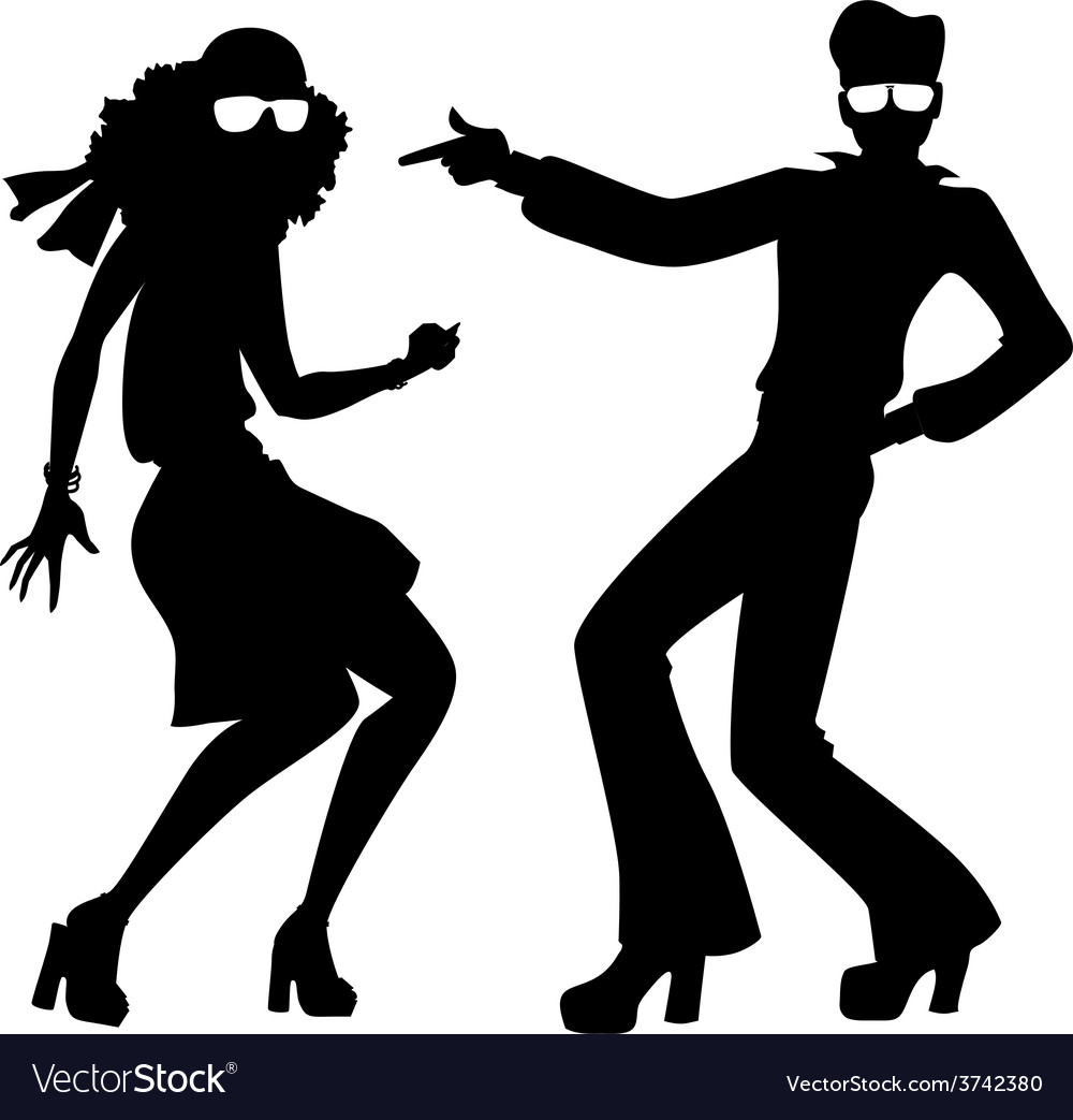 Disco dancers silhouette vector | Price: 1 Credit (USD $1)