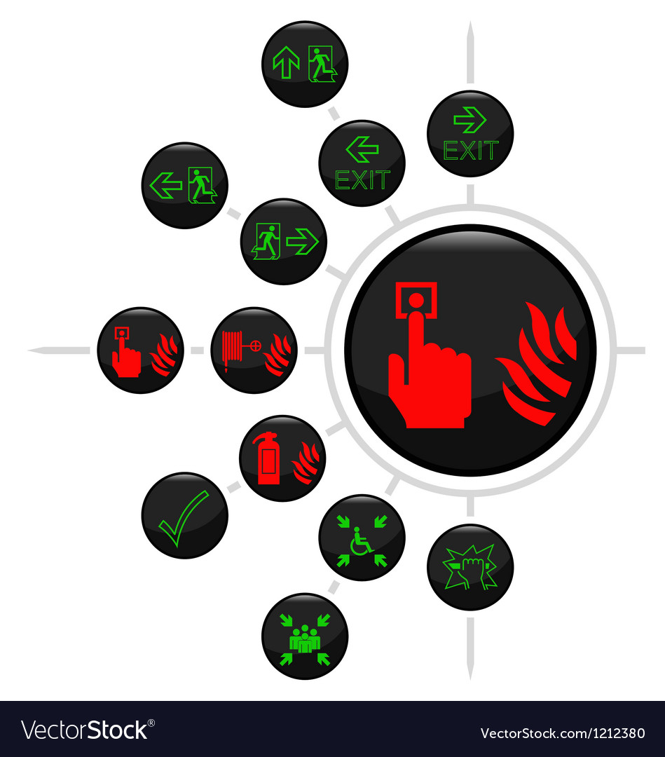 Fire escape button set vector | Price: 1 Credit (USD $1)