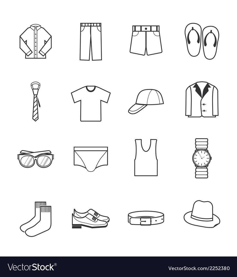 Gent clothes icons vector | Price: 1 Credit (USD $1)