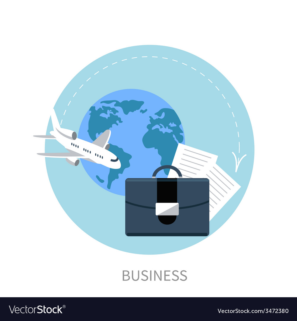 International business travel by airplane vector | Price: 1 Credit (USD $1)