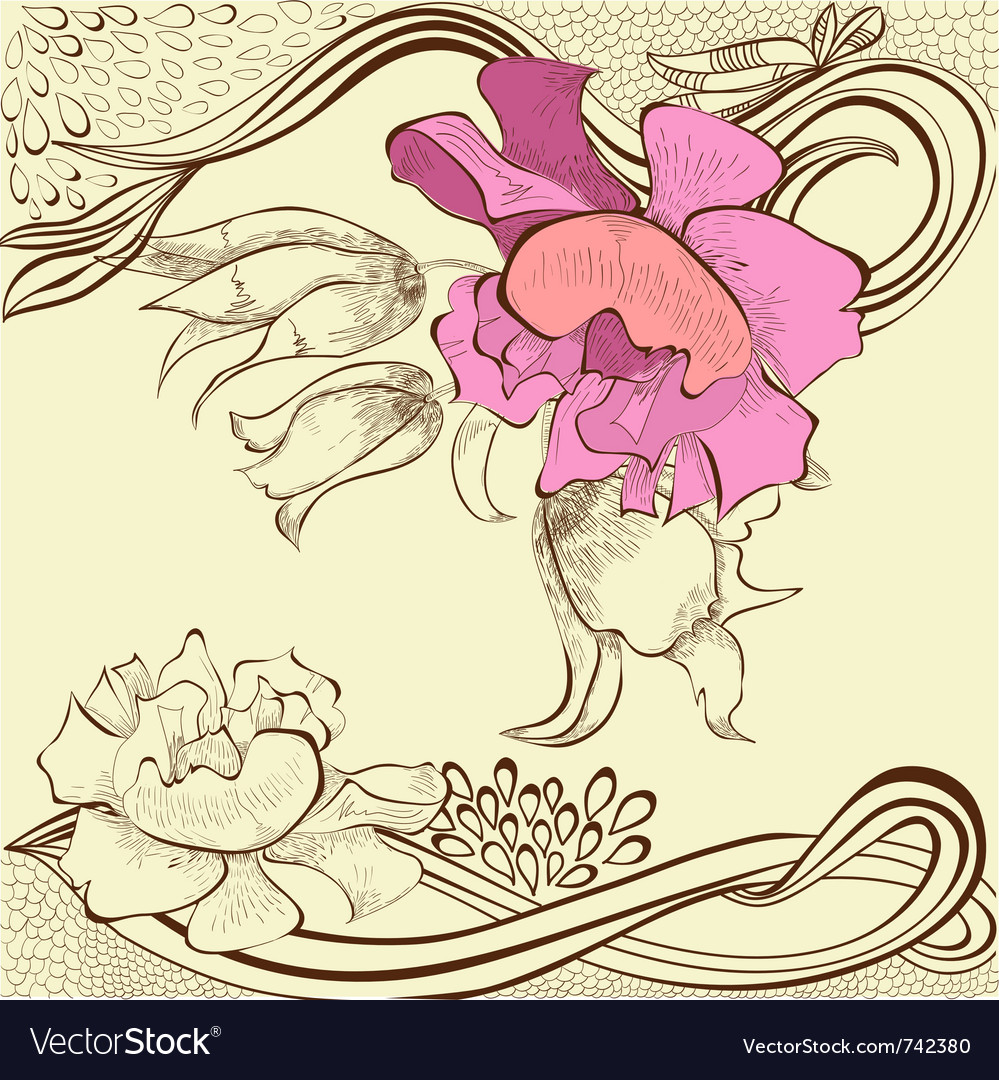 Template for decorative floral card vector | Price: 1 Credit (USD $1)