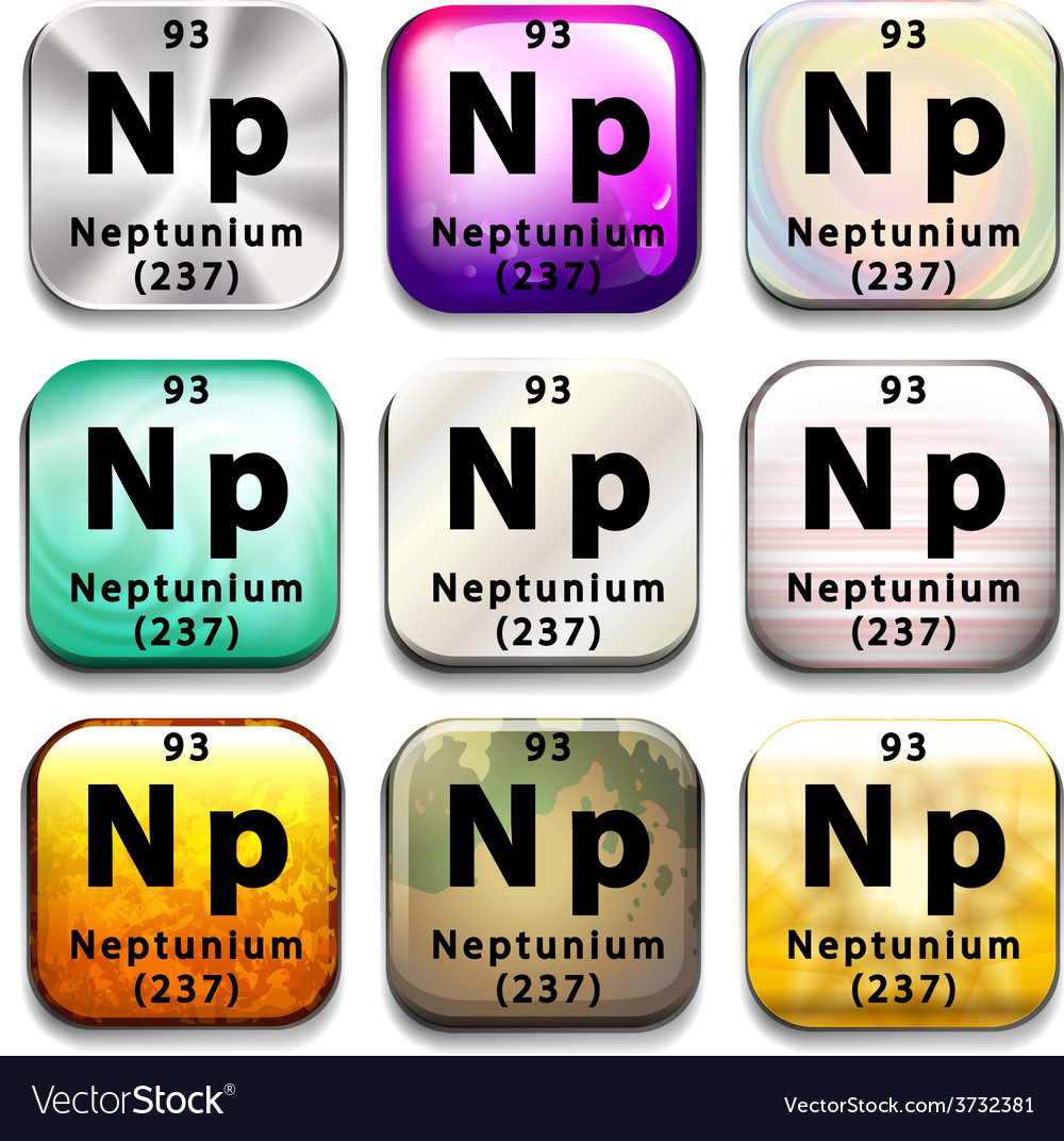 A button showing the element neptunium vector | Price: 1 Credit (USD $1)