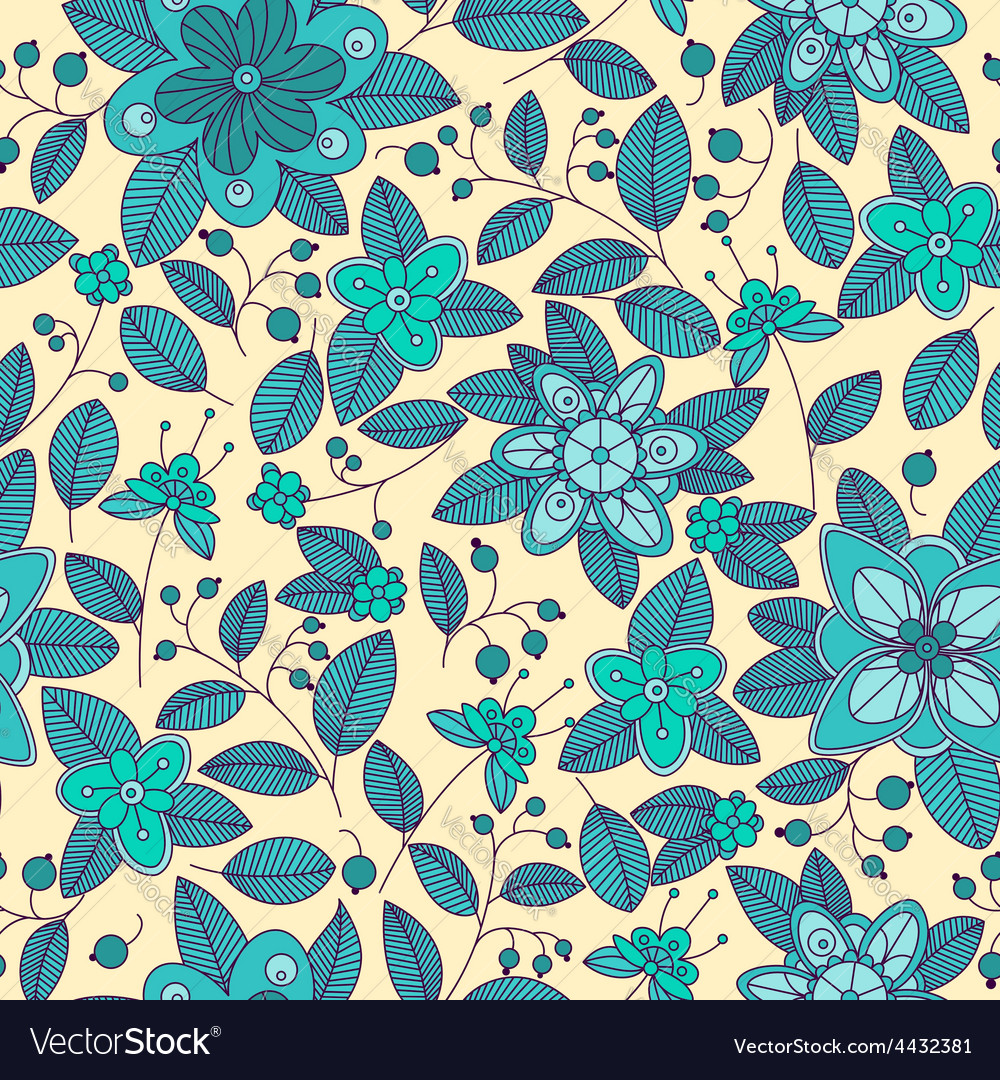 Blue seamless pattern of shrub with flowers and vector   Price: 1 Credit (USD $1)