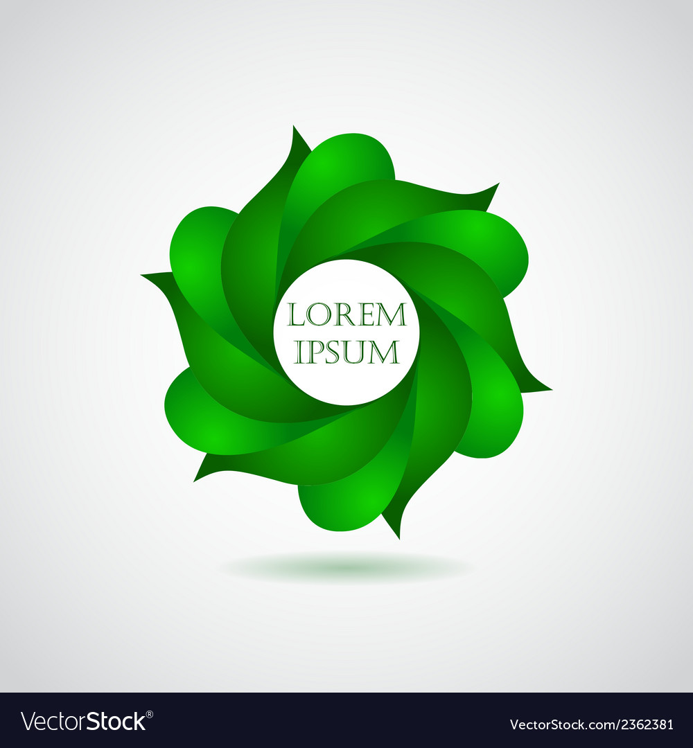 Business emblem icon of green leaves vector | Price: 1 Credit (USD $1)