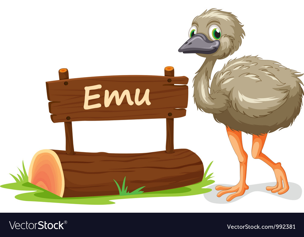 Cartoon zoo emu sign vector | Price: 1 Credit (USD $1)