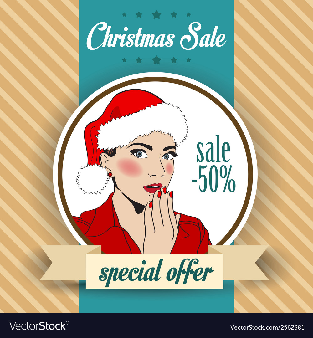 Christmas sale design with sexy santa girl vector | Price: 1 Credit (USD $1)