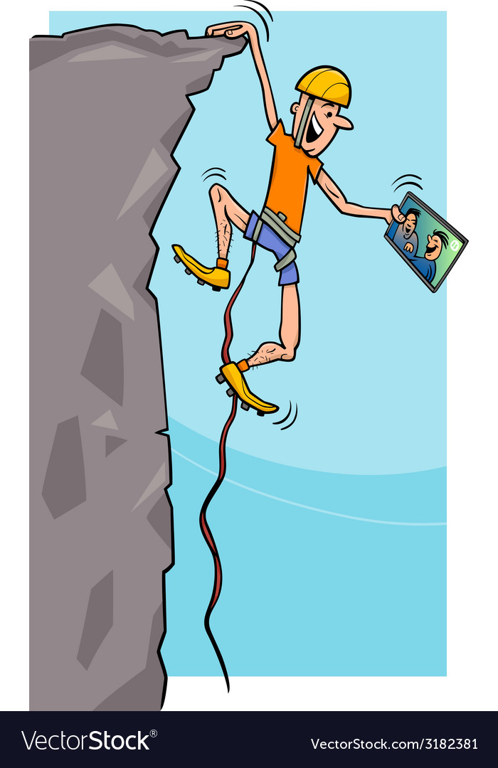 Climber with tablet cartoon vector | Price: 1 Credit (USD $1)