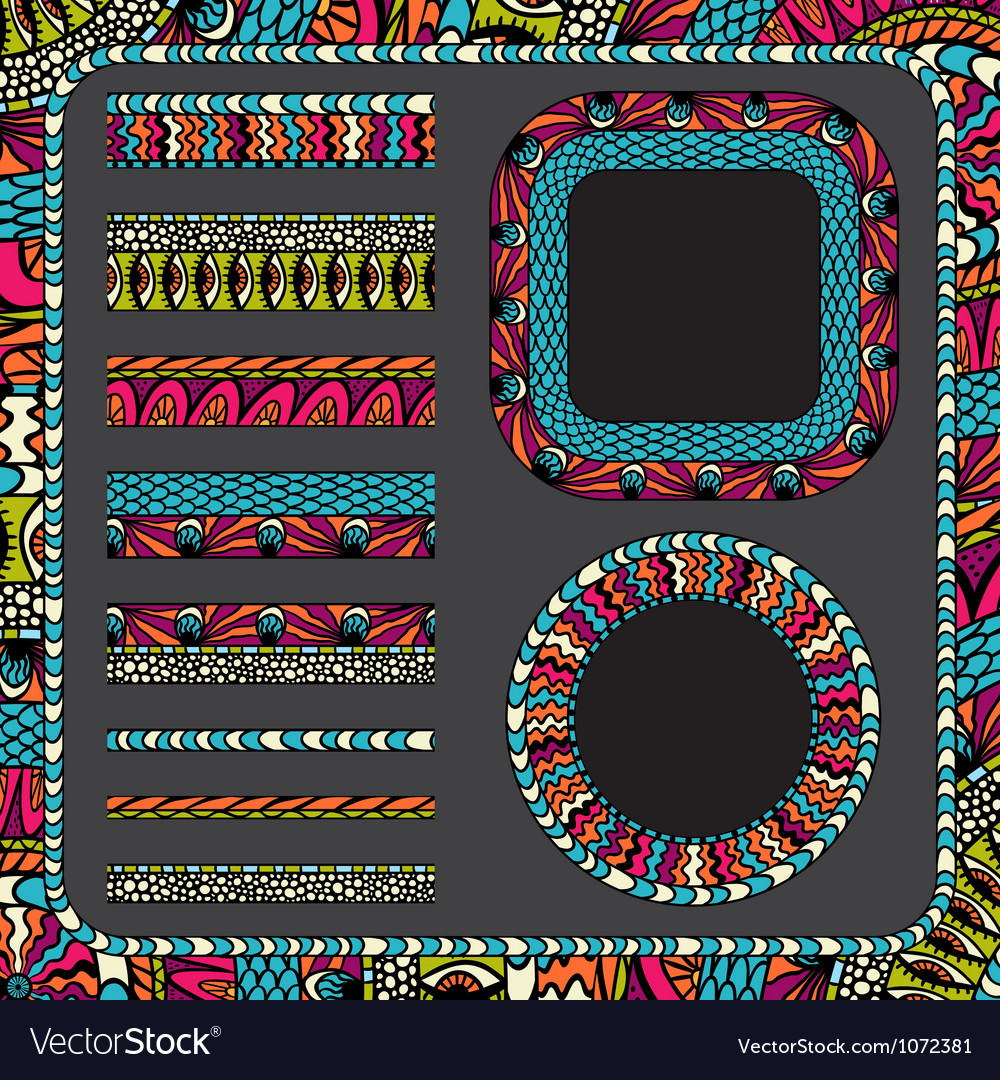 Colorful ethnicity collection ornamental stripes vector | Price: 1 Credit (USD $1)