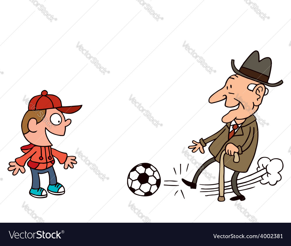 Grandfather and grandson playing football vector | Price: 1 Credit (USD $1)
