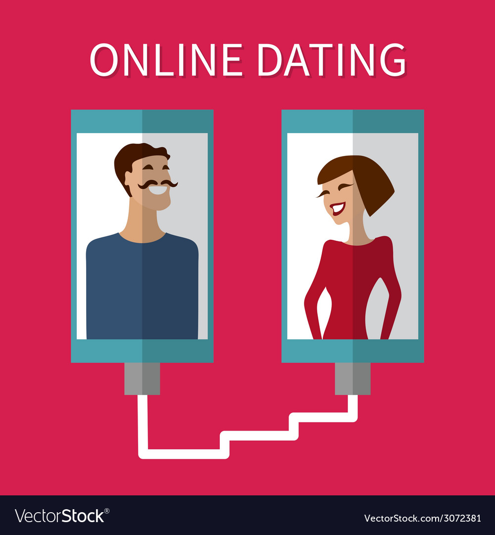 Internet dating online flirt and relation mobile vector | Price: 1 Credit (USD $1)