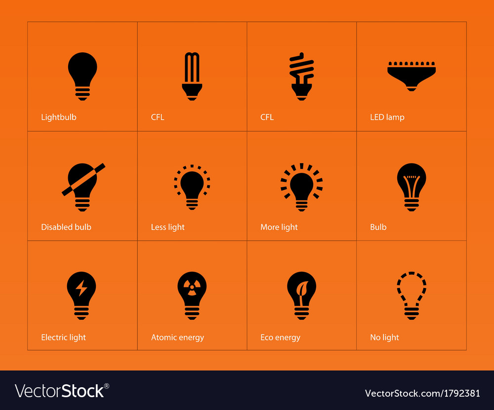 Light bulb lamp icons on orange background vector | Price: 1 Credit (USD $1)