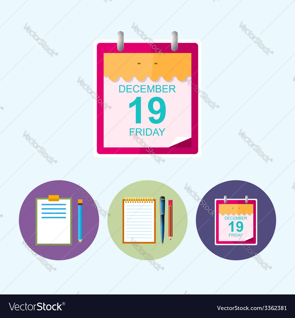 Set icons with clipboard notebook calendar leaf vector | Price: 1 Credit (USD $1)