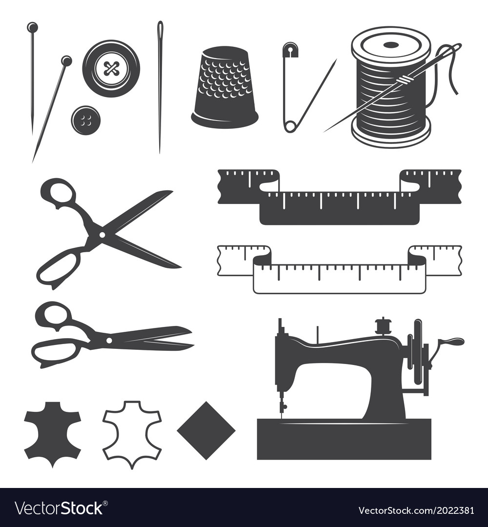 Sewing elements vector | Price: 1 Credit (USD $1)