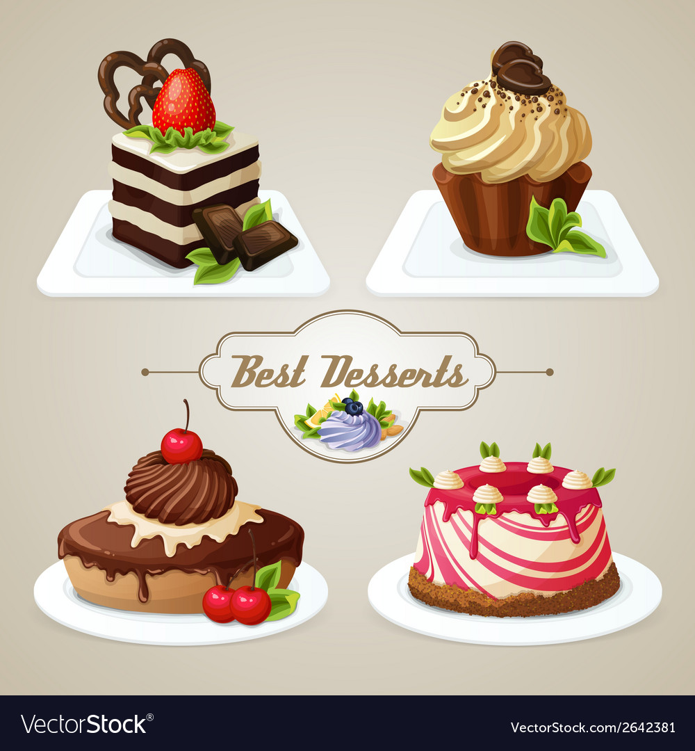 Sweets cakes dessert set vector | Price: 1 Credit (USD $1)