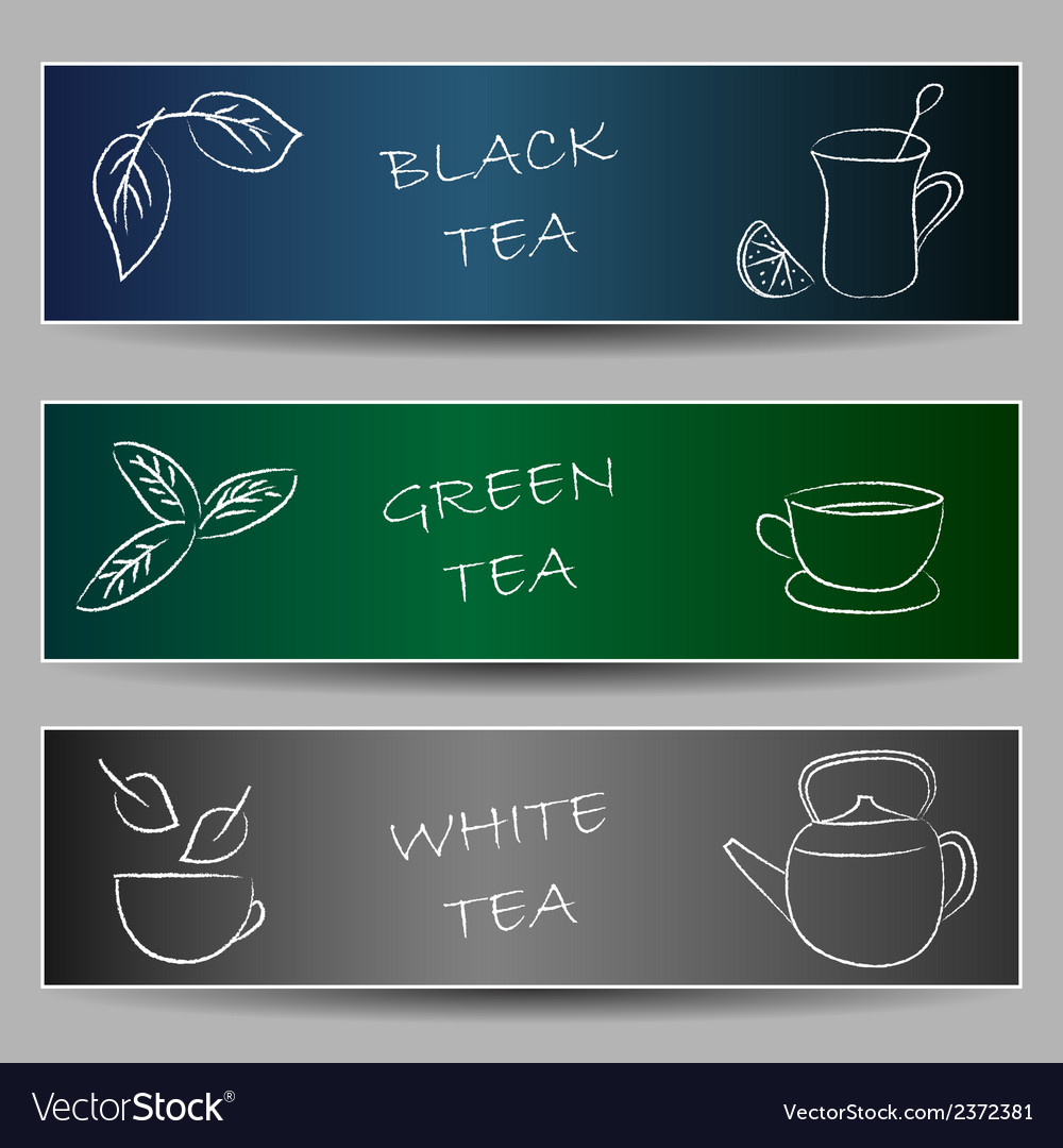 Tea chalky doodles on banners vector | Price: 1 Credit (USD $1)