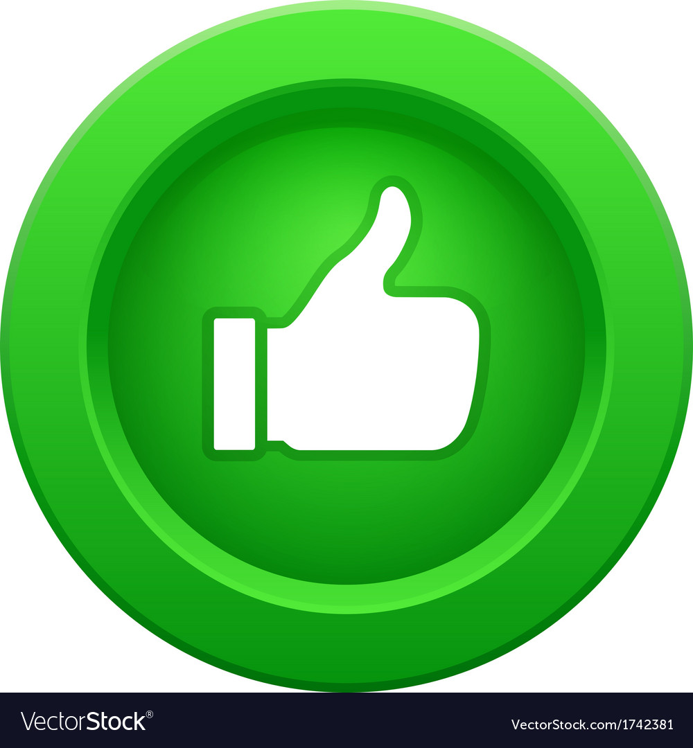 Thump up green button vector | Price: 1 Credit (USD $1)