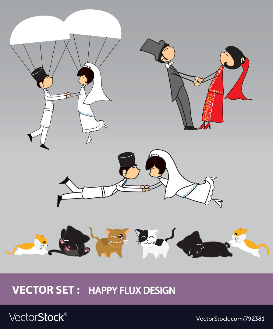 Wedding character and cats prop vector | Price: 1 Credit (USD $1)