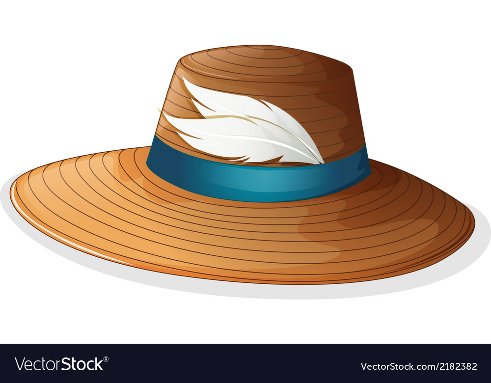 A brown hat with white feathers vector | Price: 1 Credit (USD $1)