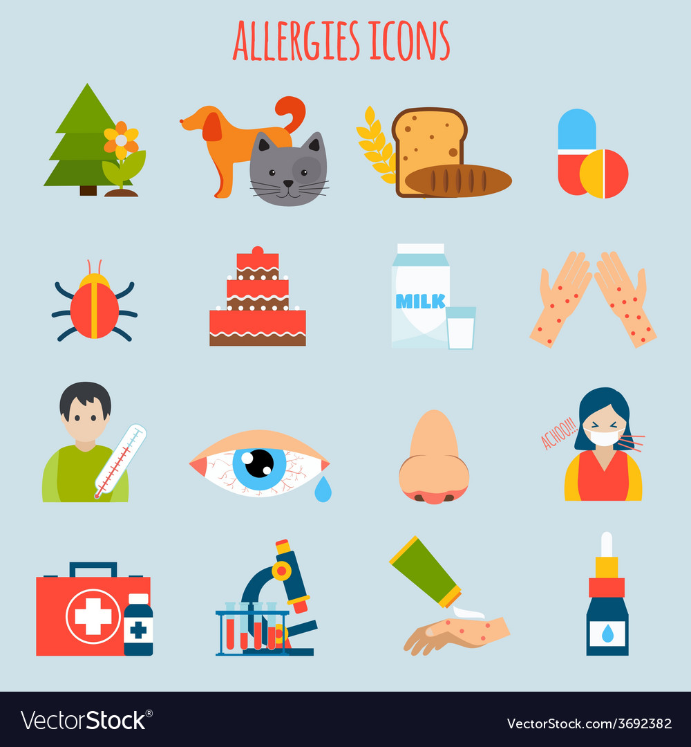 Allergies icon set vector | Price: 1 Credit (USD $1)