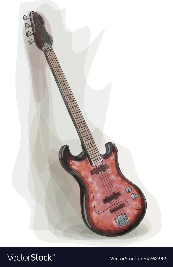 Bass electric guitar vector | Price: 1 Credit (USD $1)