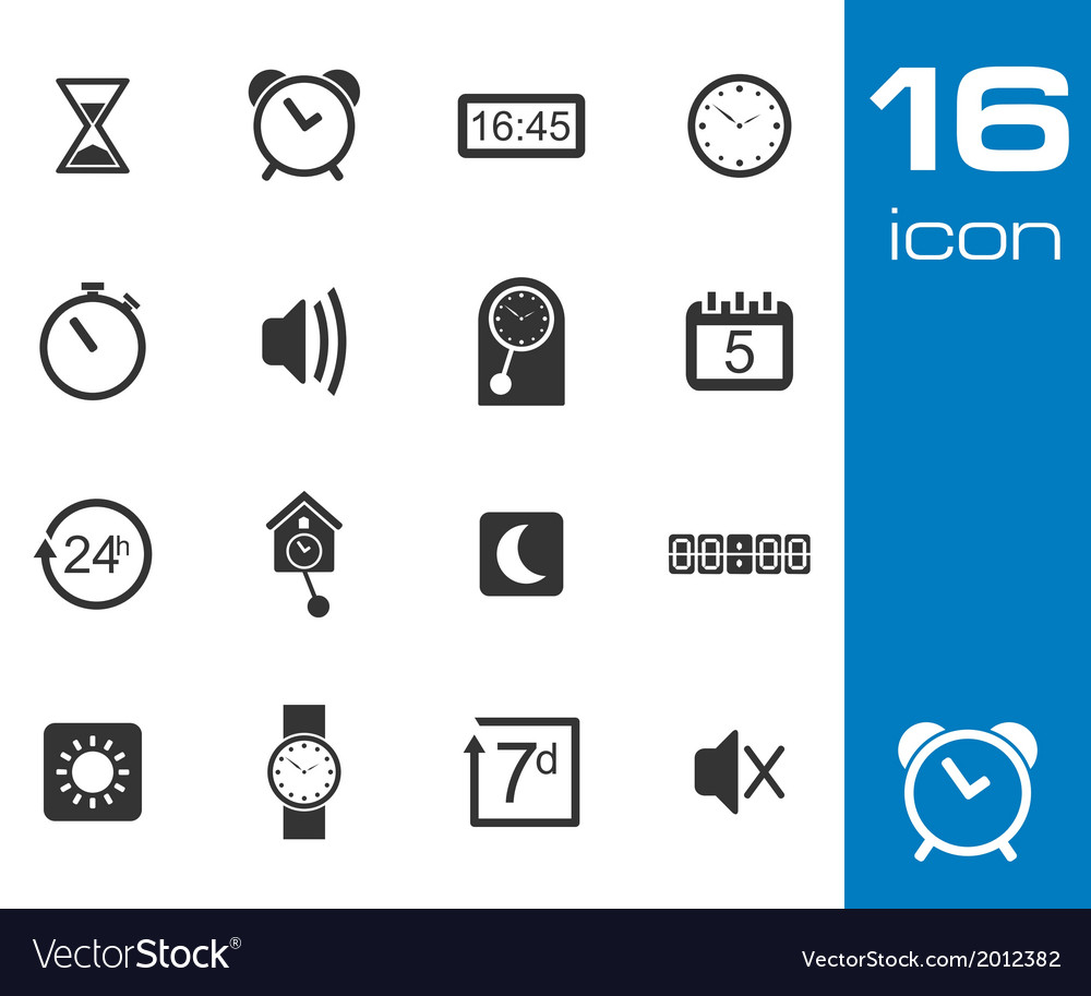 Black time icons set vector | Price: 1 Credit (USD $1)