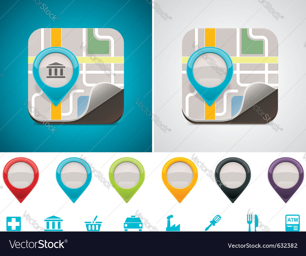 Customizable map location icon vector | Price: 1 Credit (USD $1)