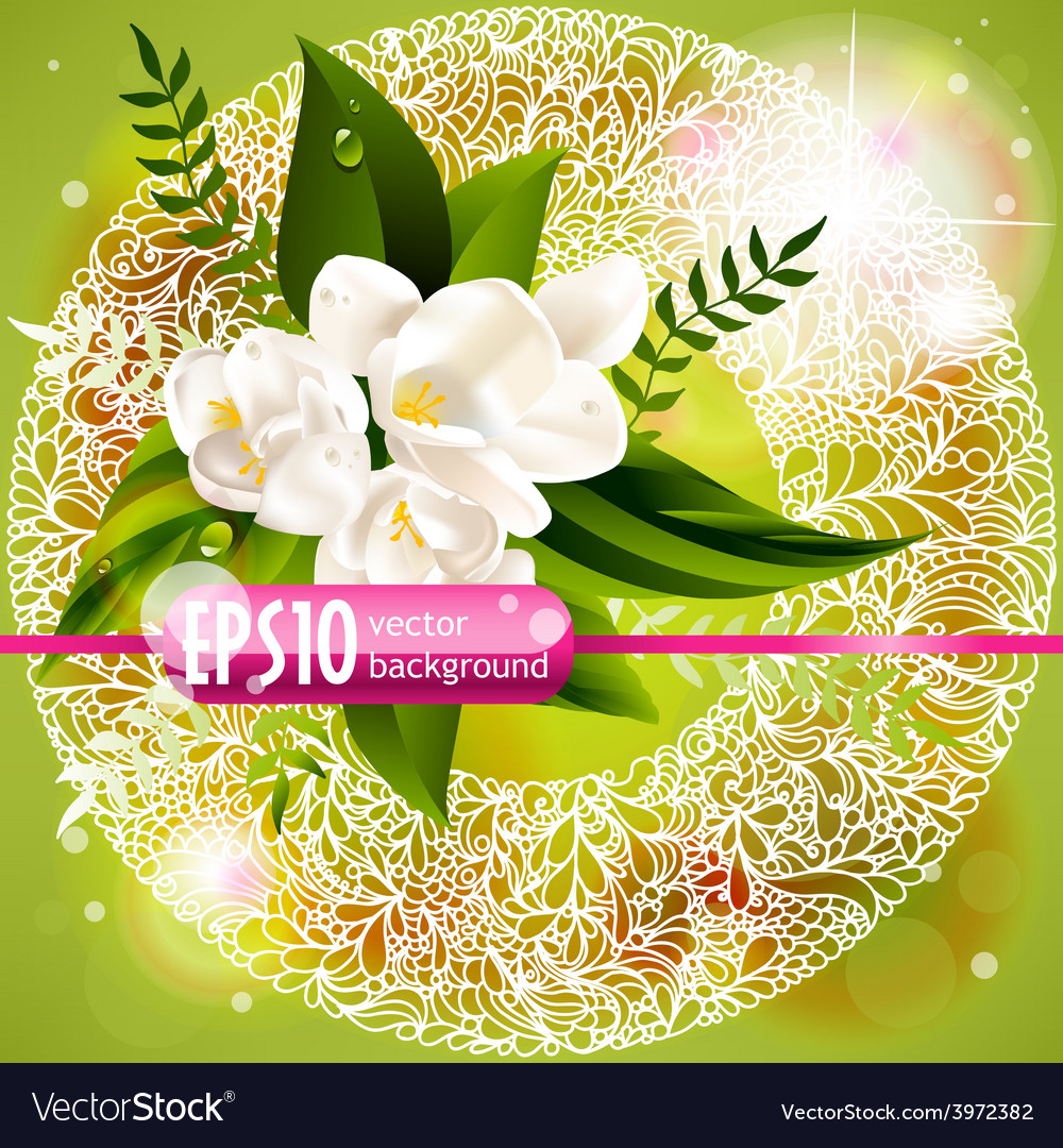 Fresh green spring background with flowers vector | Price: 1 Credit (USD $1)