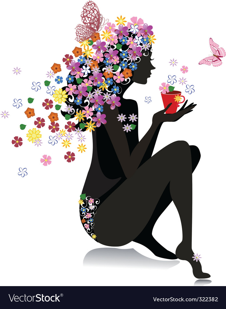 Girl with tea vector | Price: 1 Credit (USD $1)