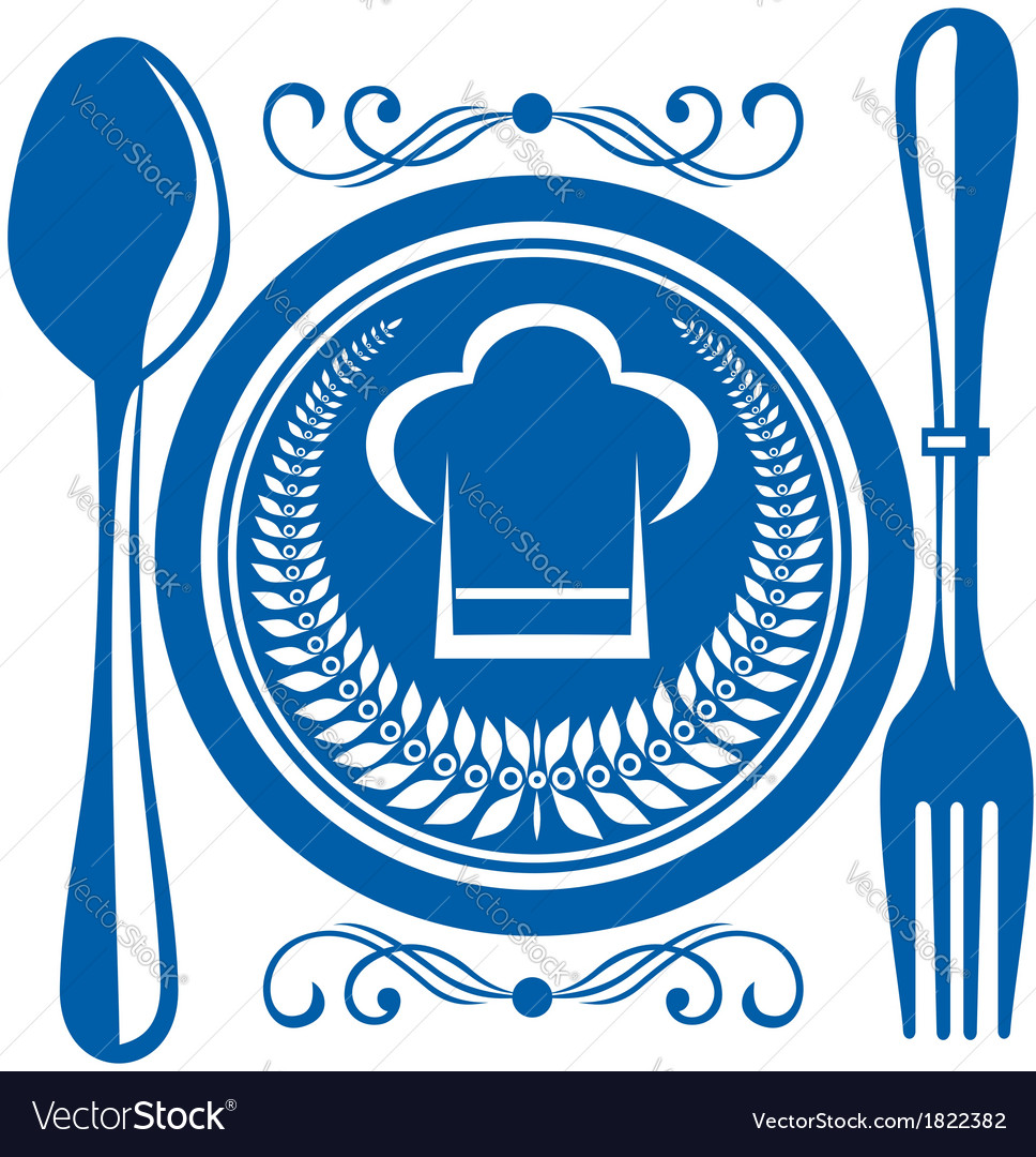 Gournet food award with plate and cutlery vector | Price: 1 Credit (USD $1)
