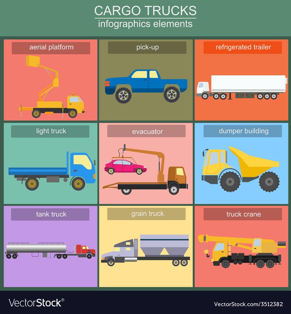 Set of elements cargo transportation trucks lorry vector   Price: 1 Credit (USD $1)