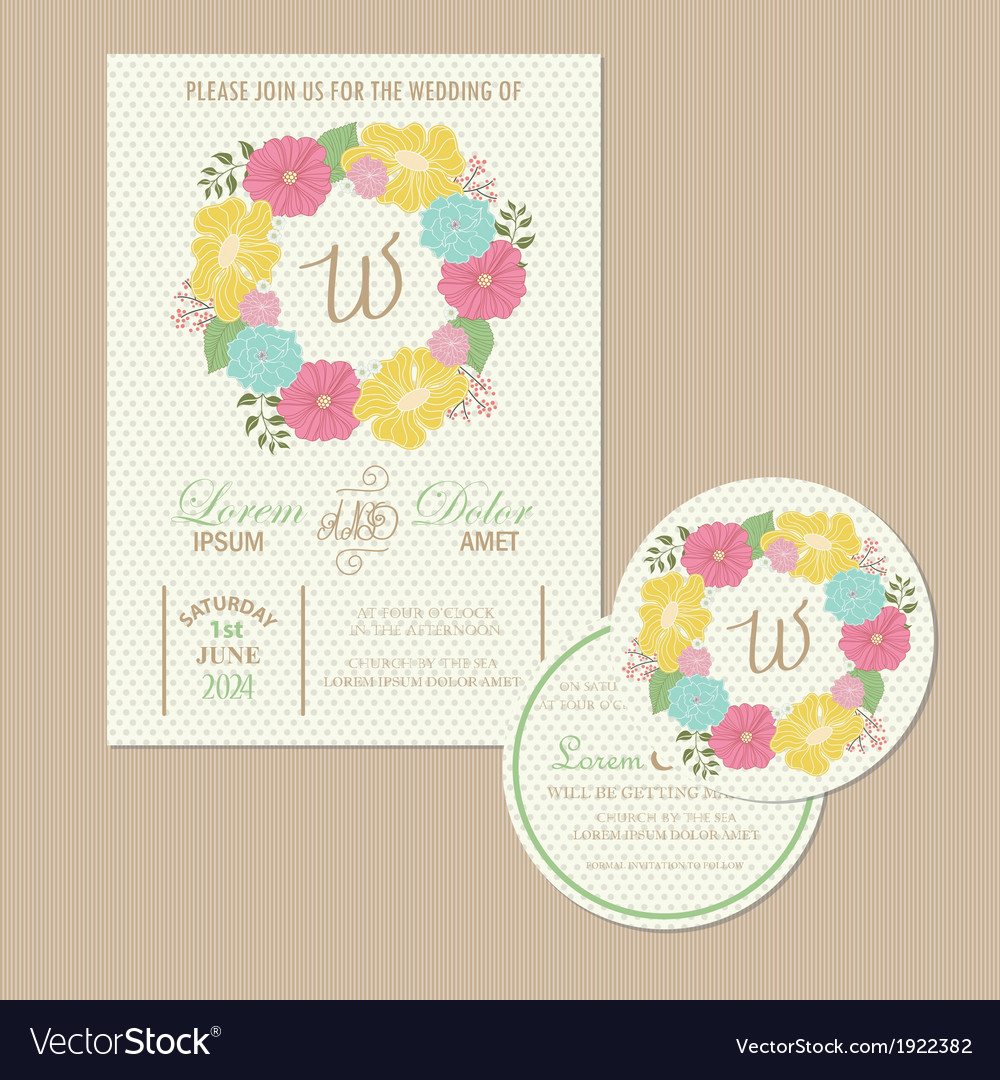 Set of wedding invitation card vector | Price: 1 Credit (USD $1)