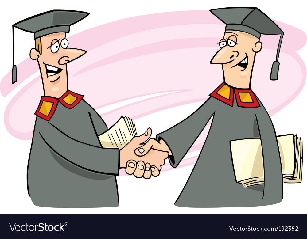 Two professors shaking hands vector | Price: 3 Credit (USD $3)