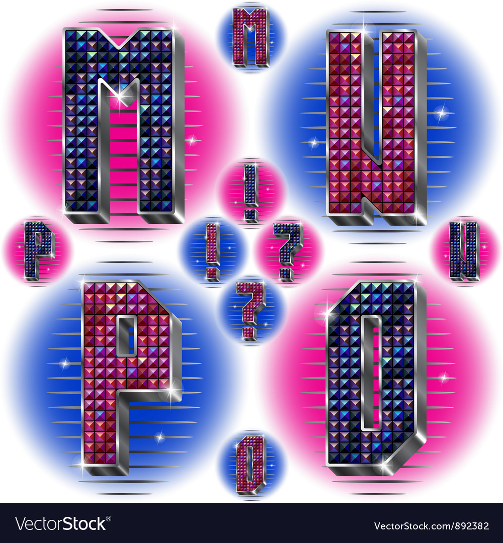 Volume letters mnop with shiny rhinestones vector | Price: 1 Credit (USD $1)