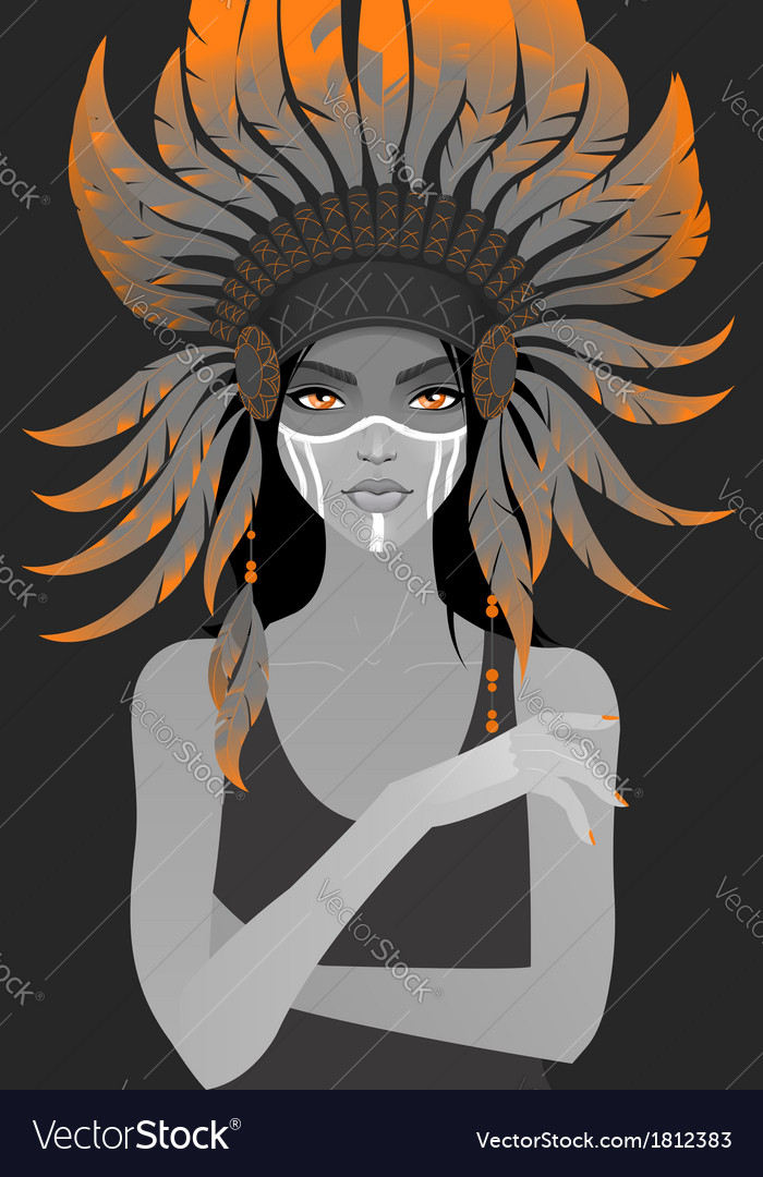 Beautiful girl in a headdress of feathers vector | Price: 1 Credit (USD $1)