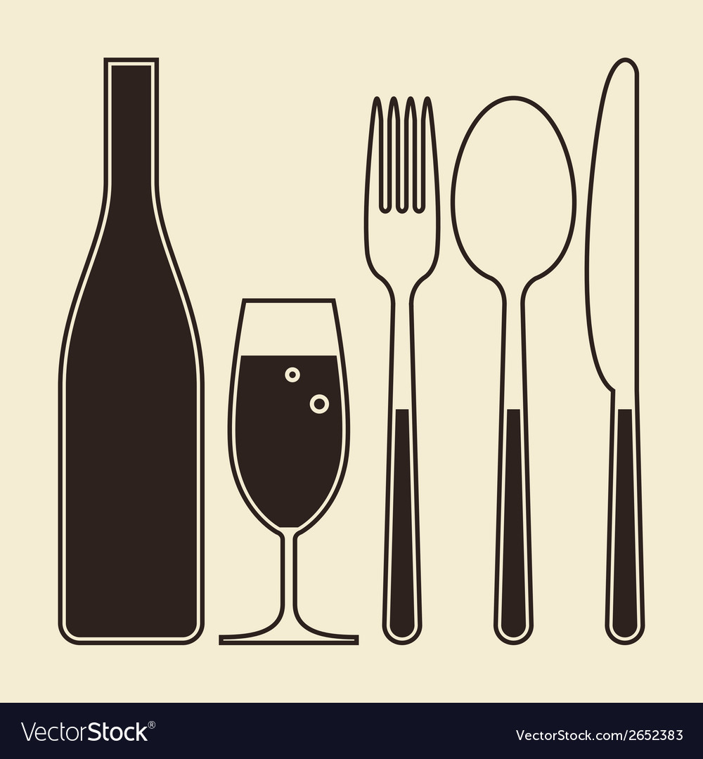 Bottle glass of champagne fork knife and spoon vector | Price: 1 Credit (USD $1)