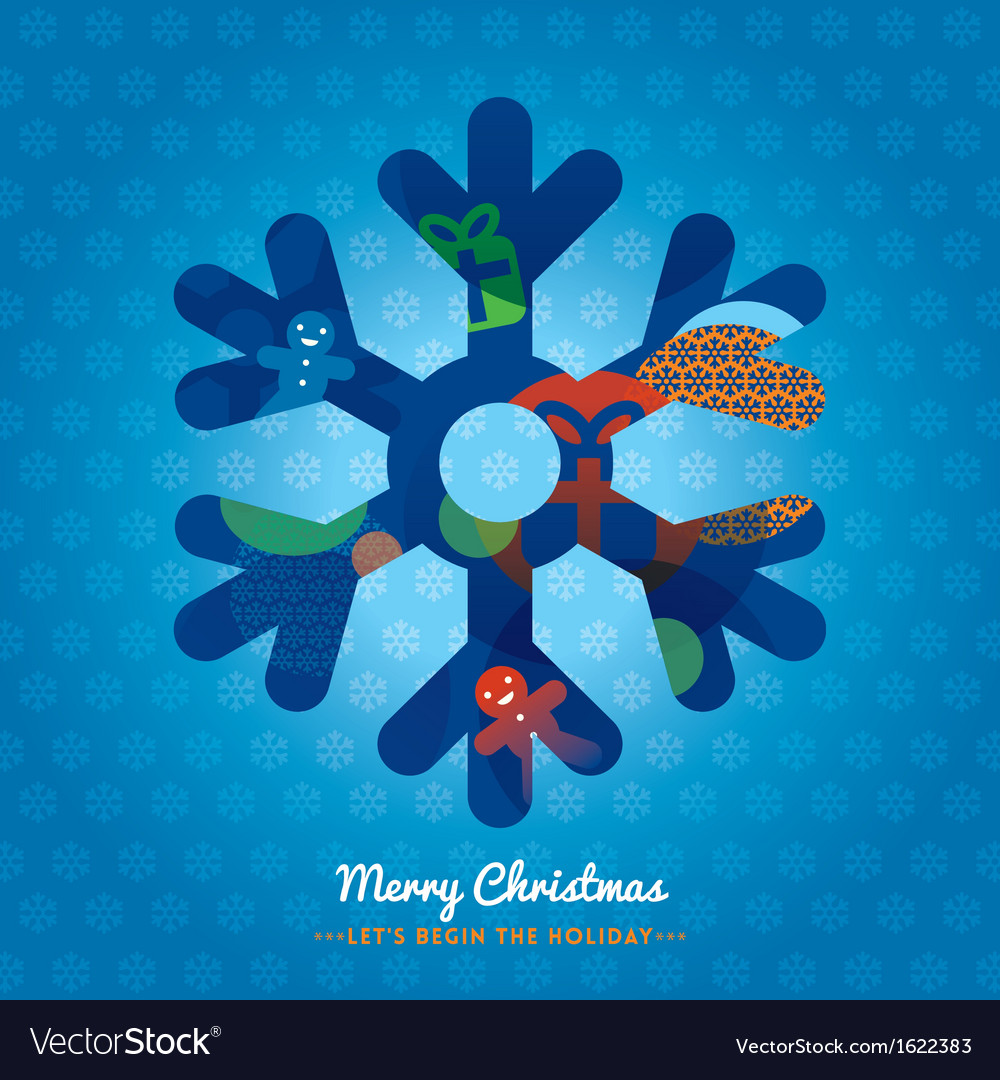 Christmas snowflake with lettering on background vector | Price: 1 Credit (USD $1)