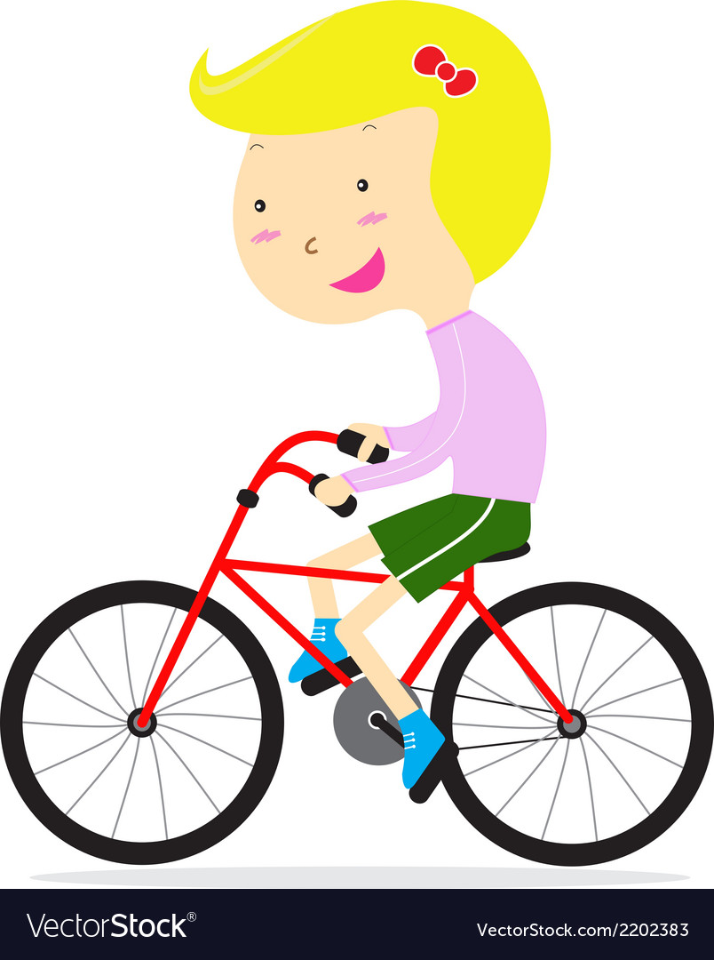 Cute happy girl riding bicycle vector | Price: 1 Credit (USD $1)